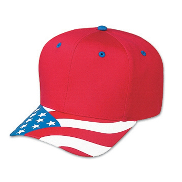 Two Tone Six Panel Pro Style Cap With United States Flag Design Visor. Blank Photo