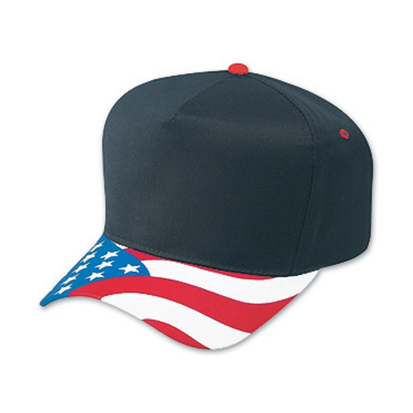 Low Crown Golf Style Cap With United States Flag Visor. Blank Photo