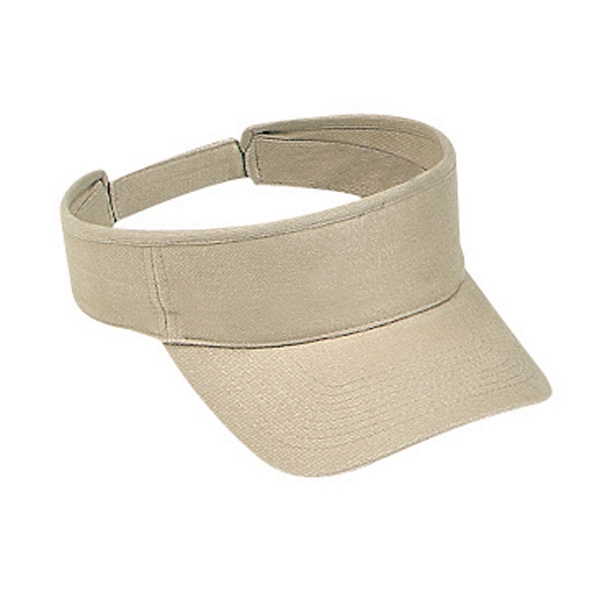 Brushed Cotton Bull Denim Sun Visor With Adjustable Hook And Loop. Blank Photo