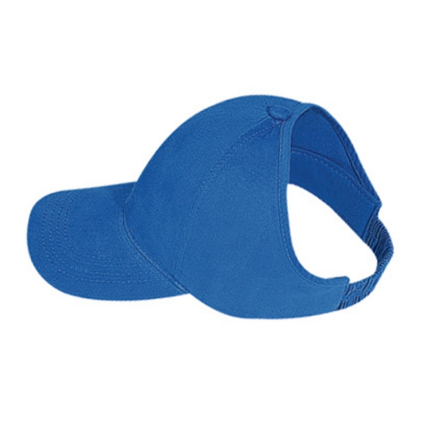 Brushed Cotton Twill Ponytail Low Profile Pro Style Cap With Elastic Strap. Blank Photo