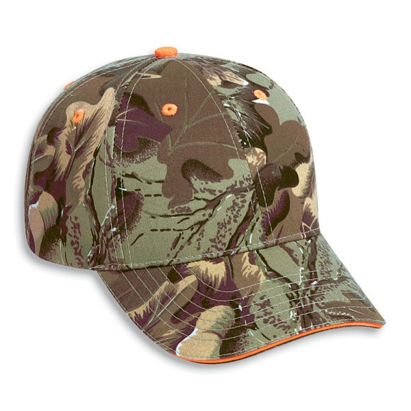 Structured Cotton Twill Pro Style Camouflage Cap With Sandwich Visor. Blank Photo