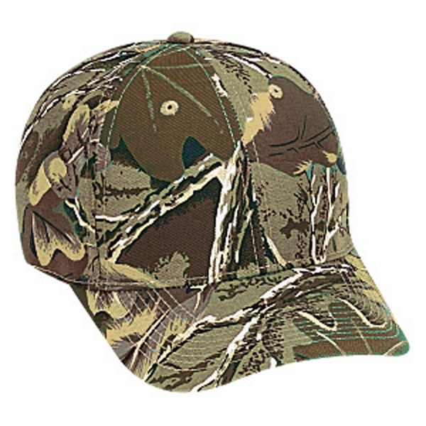 Six Panel Cotton Twill Pro Style Camouflage Cap With Adjustable Hook And Loop. Blank Photo