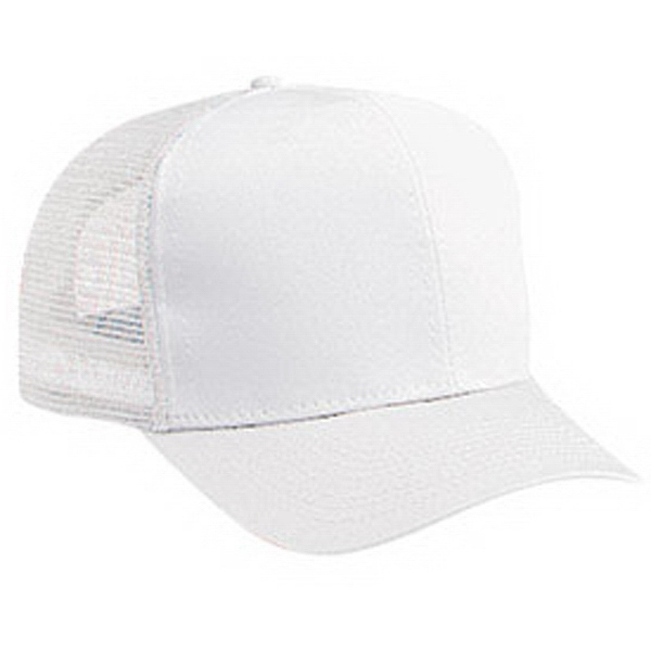 Youth Structured Pro Style Cotton Twill Cap With Nylon Mesh Back. Blank Photo