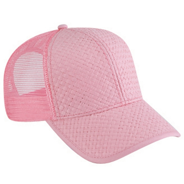 Low Profile, Solid Color Toyo Straw Pro Style Cap With Mesh Back. Blank Photo