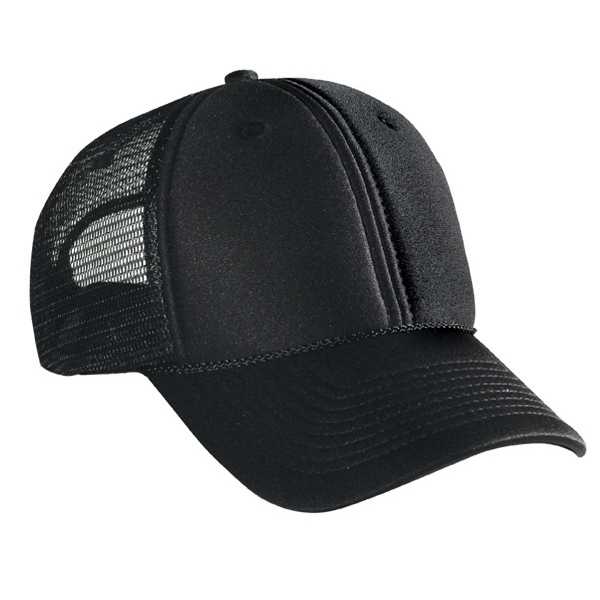 Solid Color, Low Profile Pro Style Mesh Back Cap With Polyester Foam Front. Blank Photo