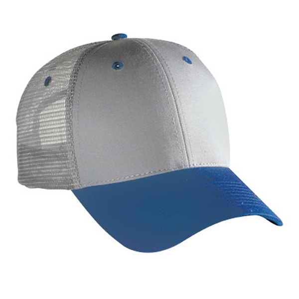 Two Tone Low Profile Pro Style Mesh Back Cap With Plastic Snap. Blank Photo