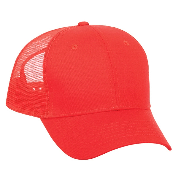 Solid Color Cotton Twill Low Fitting Pro Style Mesh Back Cap, Low Profile. Blank Photo