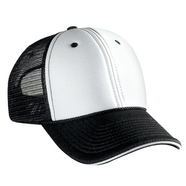 Two Tone Low Profile Pro Style Mesh Back Cap With Foam Front. Blank Photo