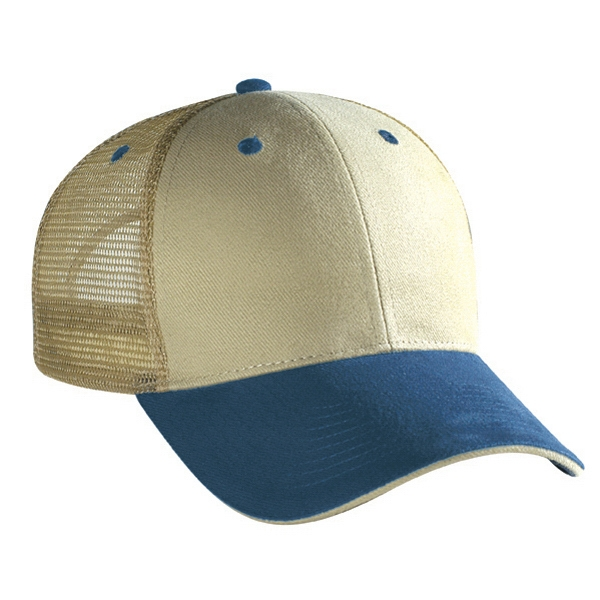 Two Tone Brushed Bull Denim Pro Style Mesh Back Cap. Blank Photo
