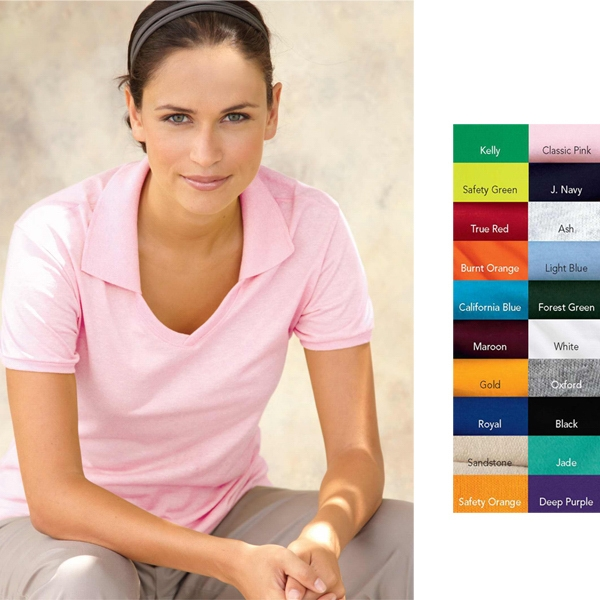 Jerzees (r) - S- X L Heathers - Ladies' 5.6 Oz. 50% Cotton/50% Polyester Jersey Polo Shirt. Blank Product Photo