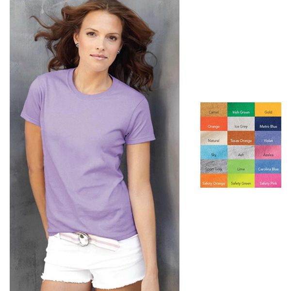 Gildan (r) - Colors  X S- X L - Ladies' 6.1 Oz 100% Cotton, Pre-shrunk Classic Fit T-shirt. Blank Product Photo