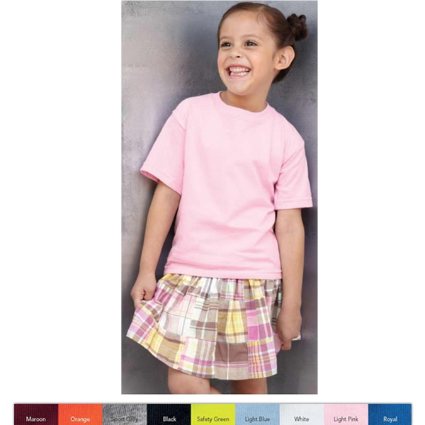 Gildan (r) - Colors 2t-4t - Preshrunk 6.1 Oz 100% Cotton Toddler T-shirt. Blank Product Photo