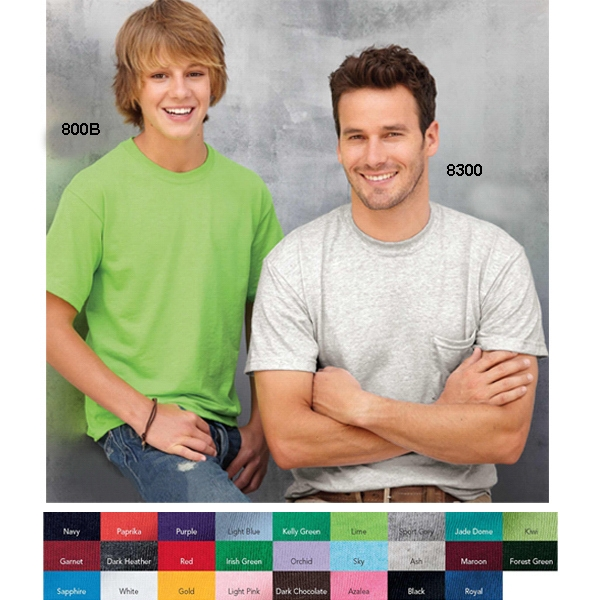 Gildan (r) - Colors - Youth 5.6 Oz Preshrunk 50% Polyester/50% Cotton T-shirt. Blank Product Photo