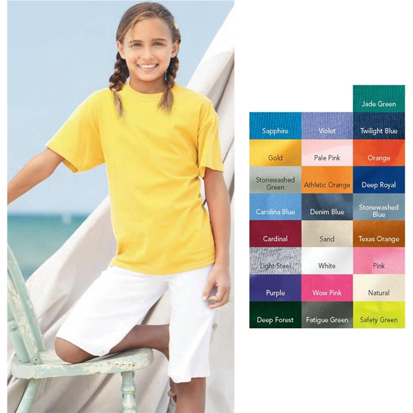 Hanes Tagless (r) - Colors - Youth T-shirt. Blank Product Photo