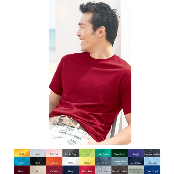 Hanes (r) Ecosmart (r) - Colors S- X L - Adult 5.2 Oz Pre-shrunk 50% Cotton/50% Polyester T-shirt. Blank Product Photo