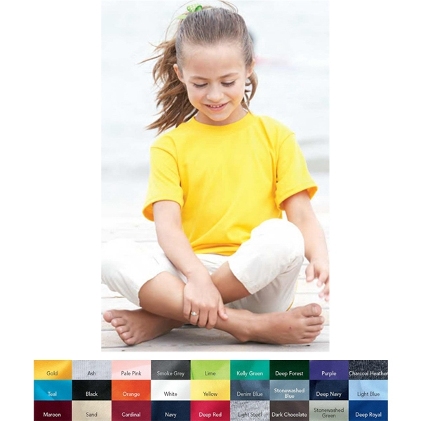 Hanes (r) Ecosmart (r) - Colors - Youth T-shirt. Blank Product Photo