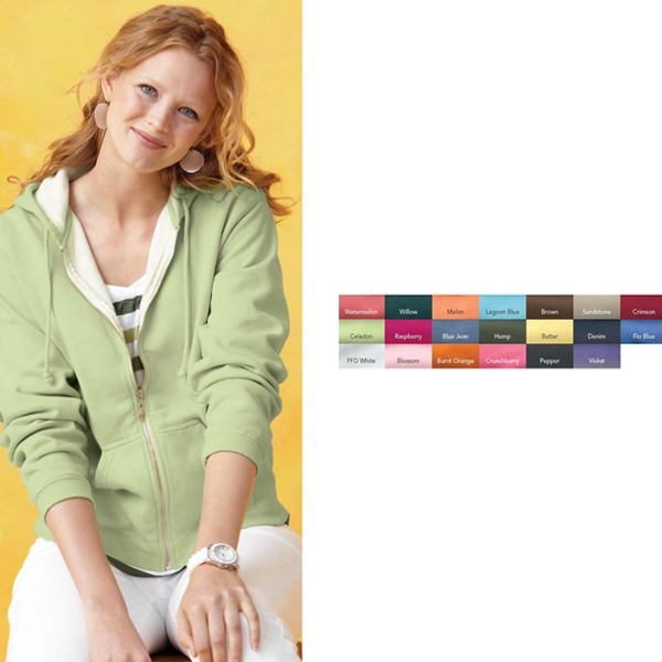 Comfort Colors - Pfd 2 X L - Ladies Pigment Dyed Full Zip Hooded Sweatshirt. Blank Product Photo