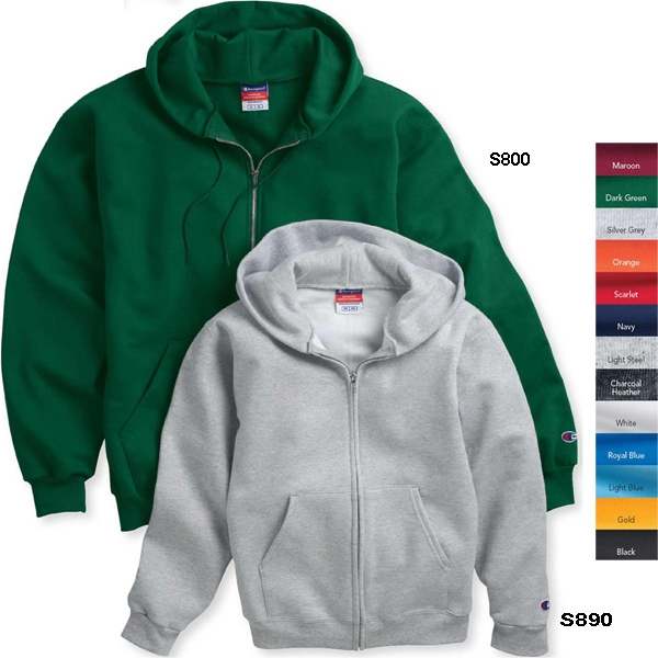 Champion (r) Eco (r) - Youth Full Zip Hooded Sweatshirt 9 Oz., 50% Cotton/50% Polyester. Blank Product Photo