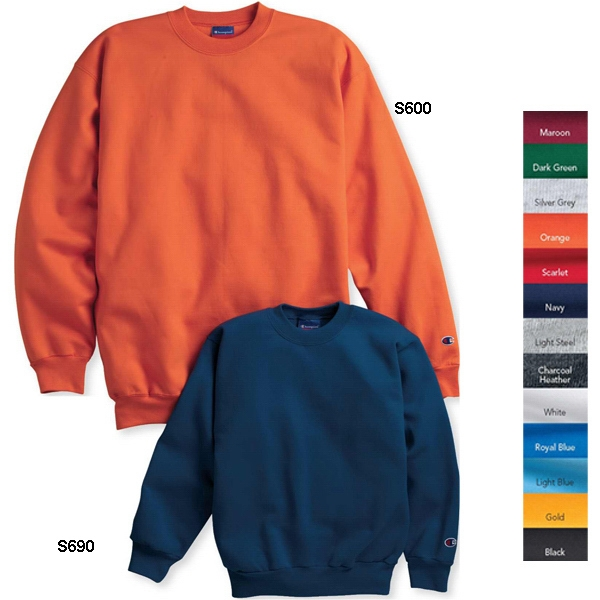 Champion (r) Eco (r) - Youth Crewneck Sweatshirt 9 Oz., 50% Cotton/50% Polyester. Blank Product Photo