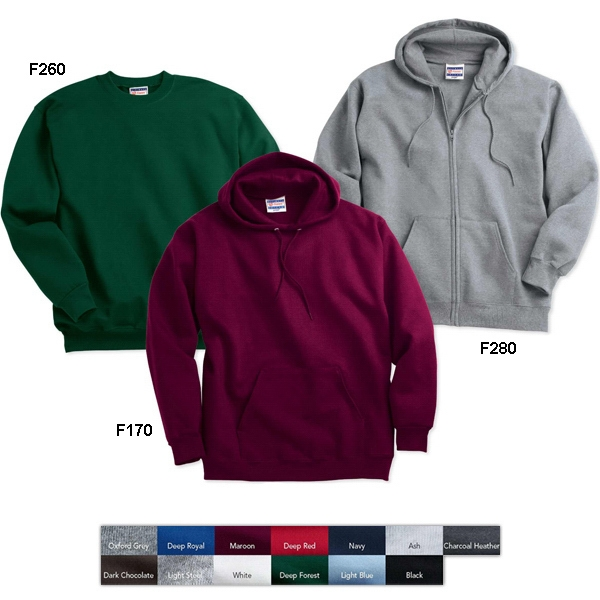 Hanes (r) - Colors S- X L - 9.7 Oz., 90% Cotton/10% Polyester Hooded Sweatshirt. Blank Product Photo