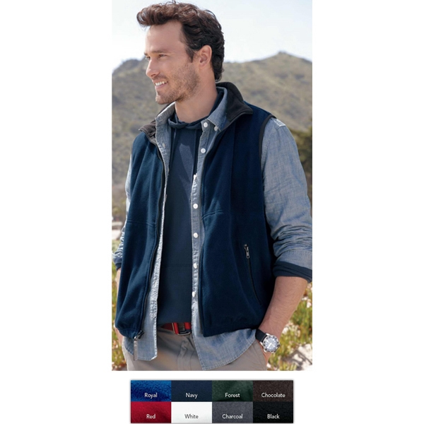 Colorado Clothing (tm) - S- X L - Classic Fleece Vest With Full Zip Front And Black Contrast Collar. Blank Product Photo