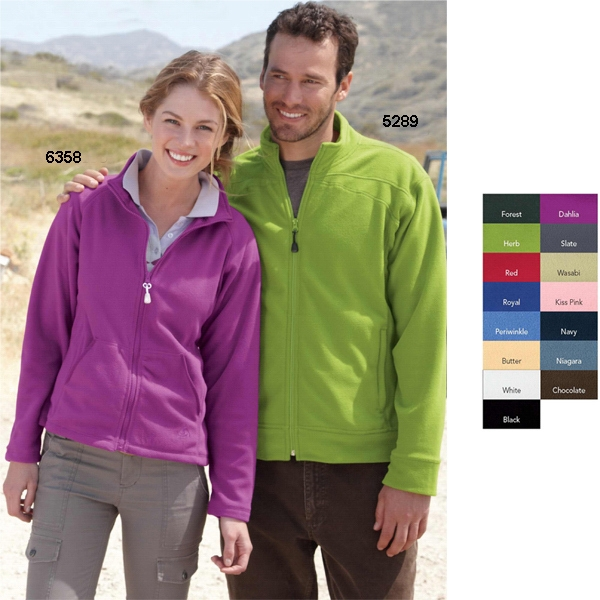 Colorado Clothing (tm) - S- X L - Adult Lightweight Microfleece Full-zip Jacket. Blank Product Photo