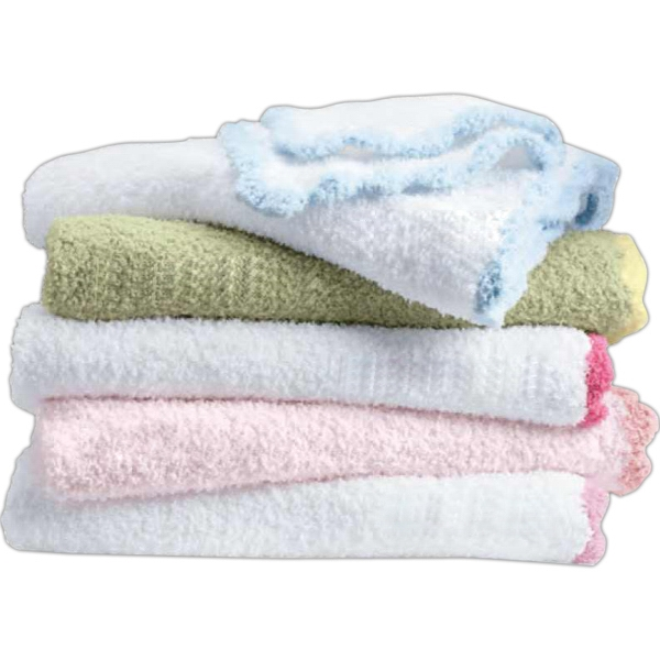 Crib Clouds Colorado Clothing (tm) - Chunky Chenille Scalloped Edge Baby Blanket. Blank Product Photo