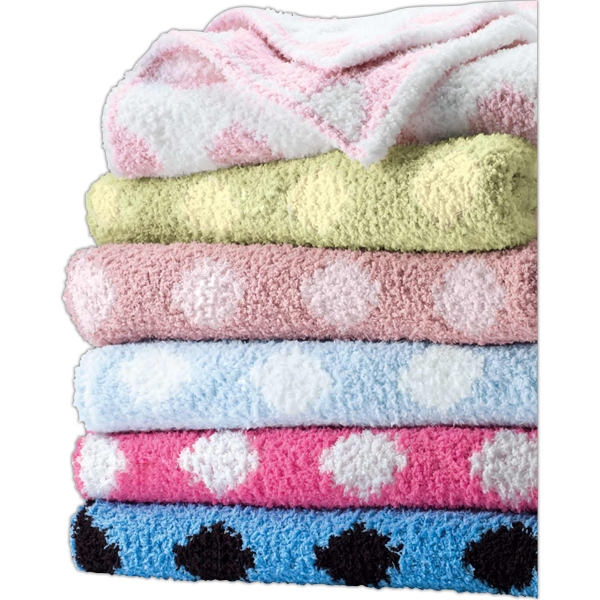 Crib Clouds Colorado Clothing (tm) - Chunky Chenille Polka Dot Baby Blanket. Blank Product Photo