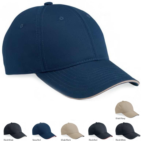 Valucap (tm) - Poly/cotton Sandwich Cap With Velcro (r) Closure. Blank Product Photo