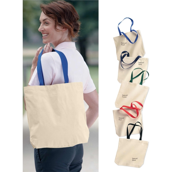 "Liberty Bags (r) - Gusseted Cotton Canvas Tote With 22"" Handles. Blank Product Photo"