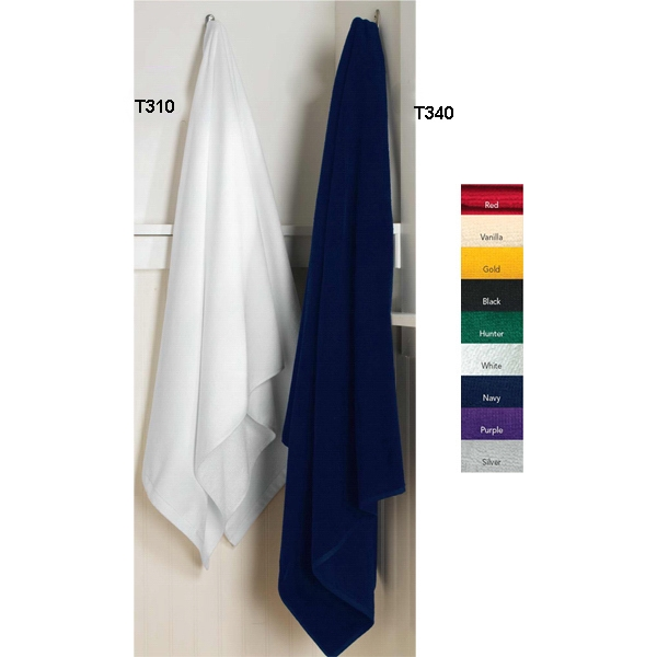 Anvil (r) Towels Plus (r) - Promotional Weight Cotton Sheared Woven Terry Beach Towel, Hemmed. Blank Product Photo