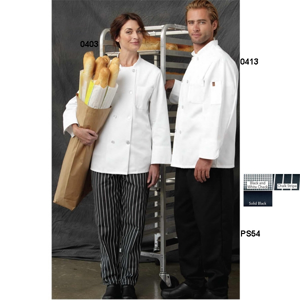 Chef Designs -  X S- X L - Eight Pearl Button Chef Coat With Thermometer Pocket. Blank Product Photo
