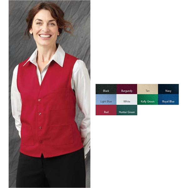 Chef Designs - Group B - S- X L - Vest With Unisex Styling And V-neck, Pockets And Four Button Front. Blank Product Photo