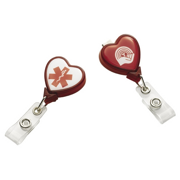 "N-dome (tm) - Heart Shape Badge Holder With Bulldog Clip And Retractable Cord 1 3/8"" X 3 3/4"" Photo"