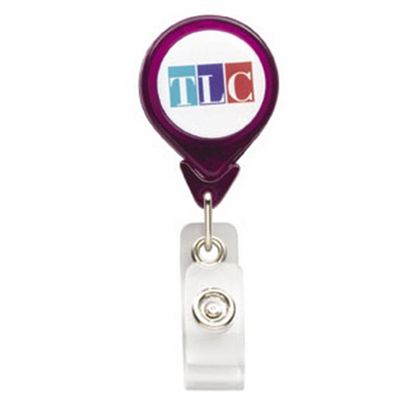 "N-dome (tm) - Tear Drop Shaped Badge Holder With Slide Clip & Retractable Cord. 1 1/4"" X 3 1/4"" Photo"