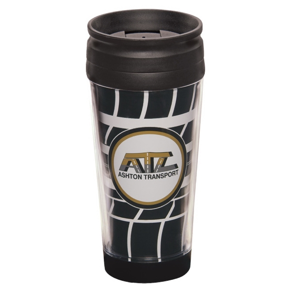 "Trimaxx - Tumbler, 16 Oz With Wraparound Insert And Spill Resistant Lid. 3 1/2"" W X 7 3/8"" H Photo"