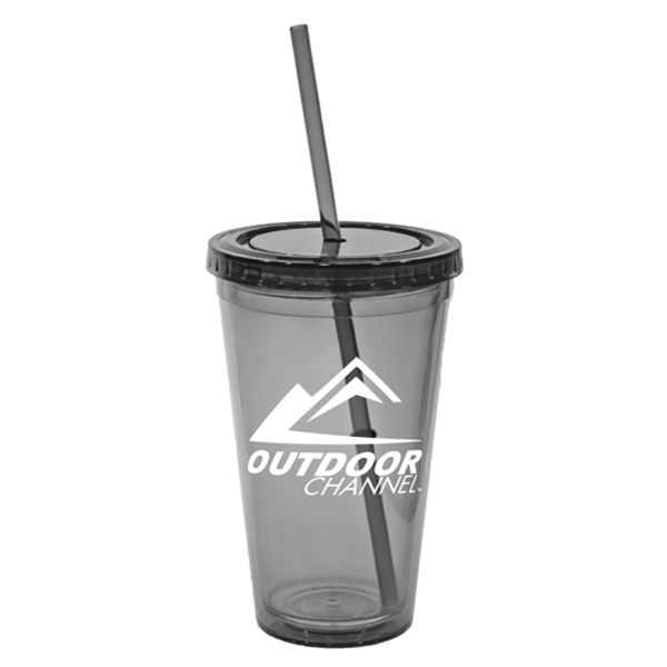"Serenity - 16 Oz. Tumbler, Double-wall Insulated, Screw-on Lid, Straw Included. 3 5/8"" W X 8"" H Photo"