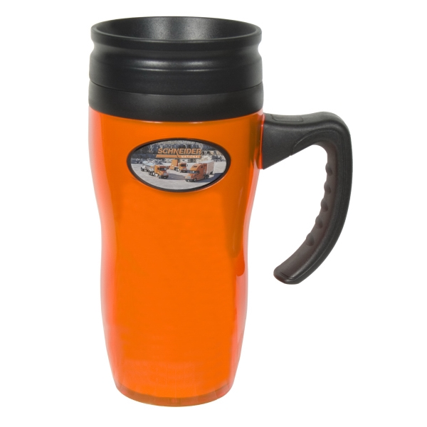 Galaxy N-dome (tm) - Mug With Double-walled Construction. Screw-on Spill-resistant Thumb-slide Lid Photo