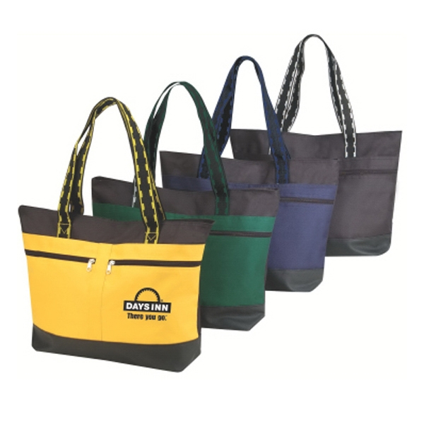 "Embroidery - All-purpose Tote Bag With Zippered Main Compartment And 24"" Dual-tone Handles Photo"