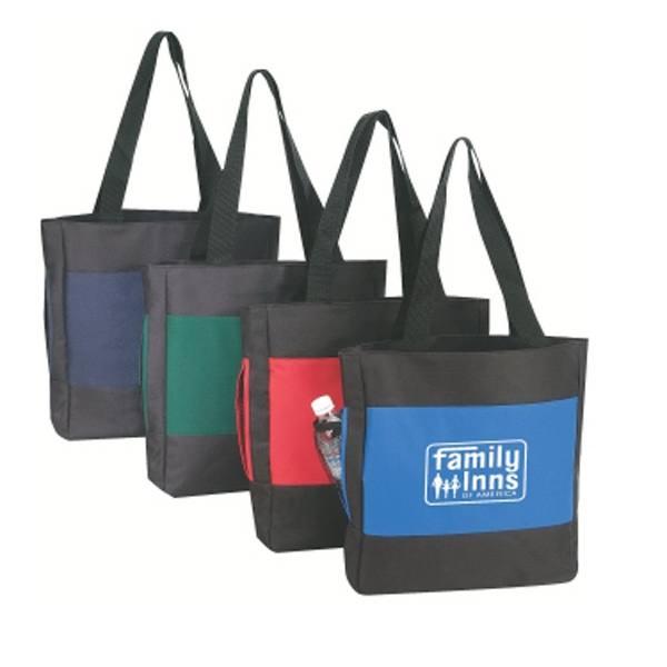 "Embroidery - Two-tone Tote Bag With Mesh Side Pocket And 24"" Handles Photo"