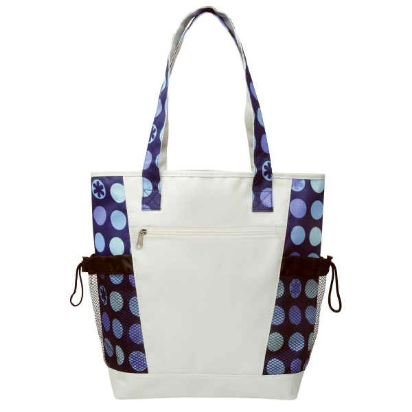 Silkscreen - Designer Pattern Tote Has Zipper Front Pocket And Mesh Pocket On Each Side Photo