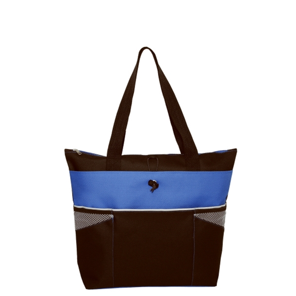 "Embroidery - Color-block Fashion Tote With Zippered Main Compartment And 22"" Handles Photo"