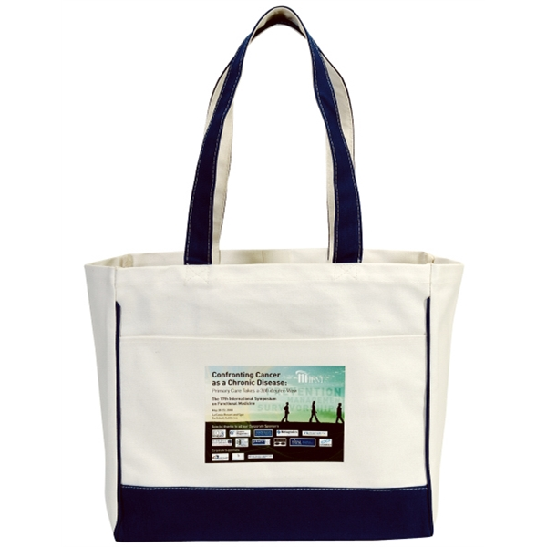 "Embroidery - Two-tone Carry-all Tote With Pockets, Top Velcro (r) Closure And 27"" Fabric Handles Photo"