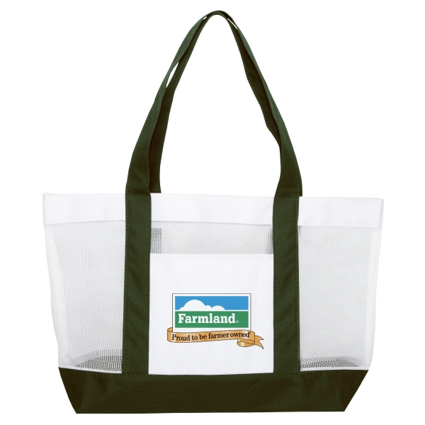 "Silkscreen - Two-tone Mesh Tote Bag With Nylon And Polyester For The Pocket And 22"" Handles Photo"