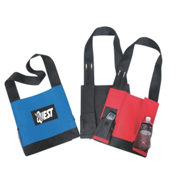 "Embroidery - Shoulder Polyester Tote Bag With Mesh Bottle Holder And 38"" Shoulder Strap Photo"