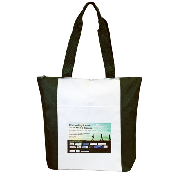 Embroidery - Medium Zipper Tote Bag Made Of 600-denier Polyester With Vinyl Backing Photo
