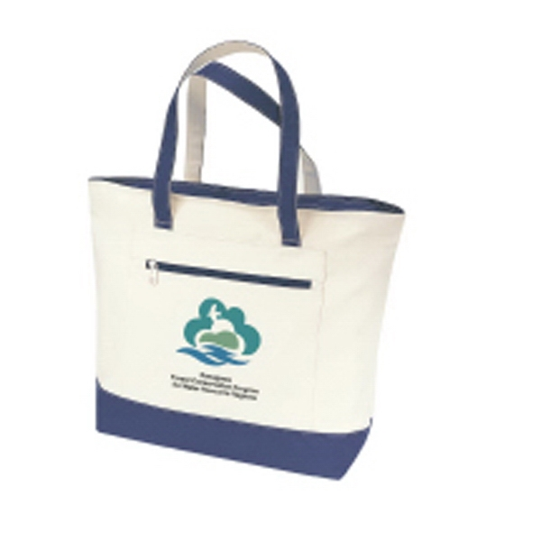 "Embroidery - Canvas Zippered Tote Bag With 21"" Carrying Handles And Zippered Front Pocket Photo"