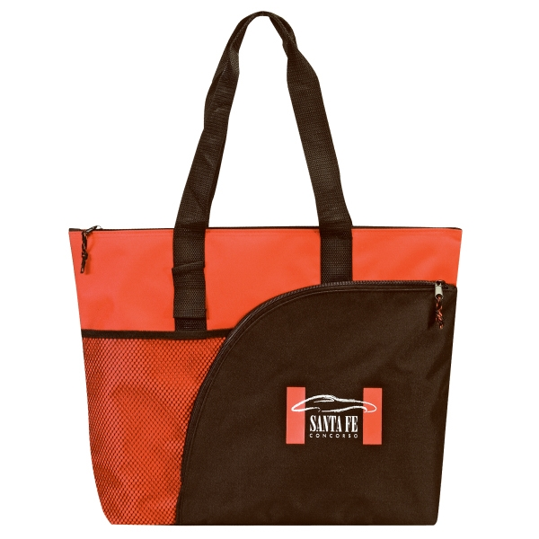 Embroidery - Fashion Zipper Tote Bag With Back Pocket And Id Window Photo