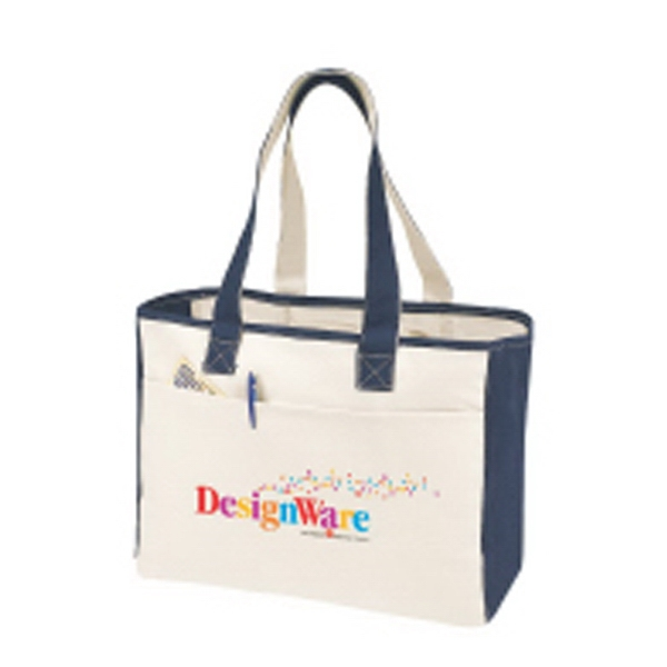 Embroidery - Canvas Boat Bag With Interior Zippered Pocket And Exterior Pocket Photo