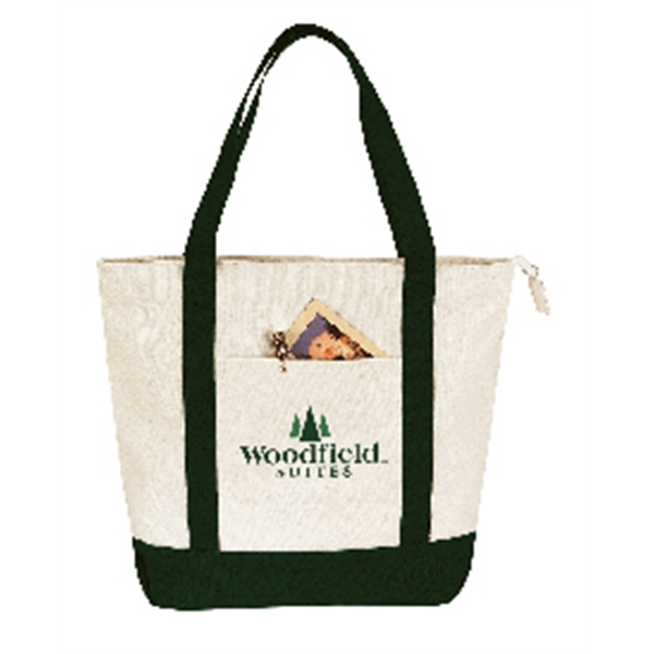 "Embroidery - Two-tone Zippered Tote Bag Made Of 13.5 Oz. Canvas With 22"" Self-fabric Handles Photo"